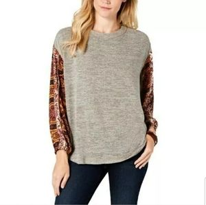 Style and CO Contrast Sleeve Sweater Size Large